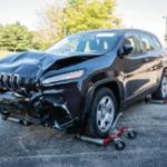 Front driver corner shot damaged vehicle