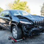 Front passenger corner shot damaged vehicle